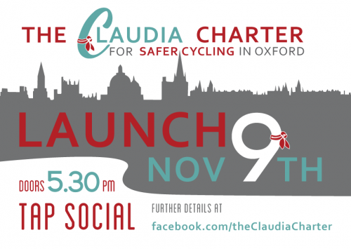 Launch of the Claudia Charter for Safer Cycling in Oxford @ Tap Social